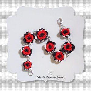 Red Rose Dalmatian Handmade Bracelet NEW